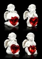 Kleine Cherubim Figuren mit roten Herzen - 4er Set