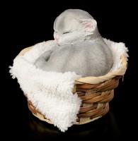 Grey Cat Figurine asleep in Basket