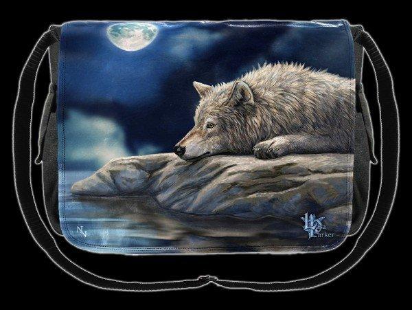 Umhänge-Tasche mit Wolf - Quiet Reflection