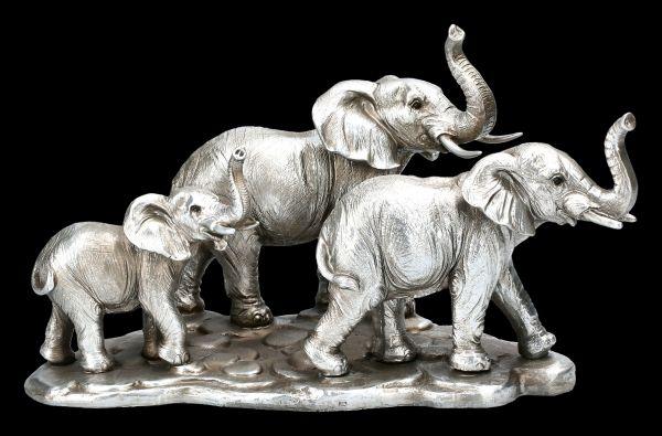 Elephant Figurine - Family Antique Silver