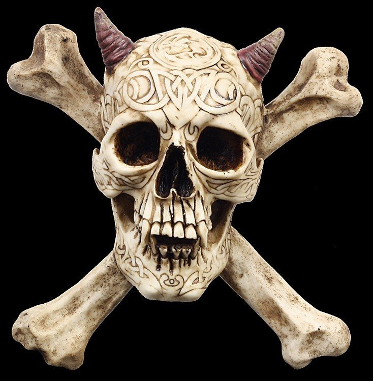 Skull Wall Plaque with Horns and Bones