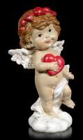 Cherub Figur - Kleiner Engel mit rotem Herz