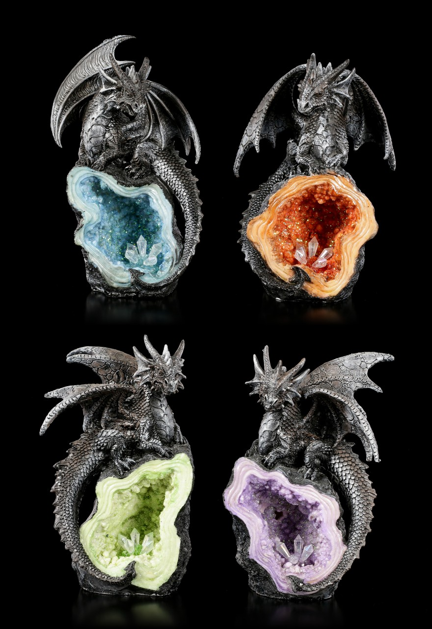 Dragon Figurines on Crystals - Set of 4