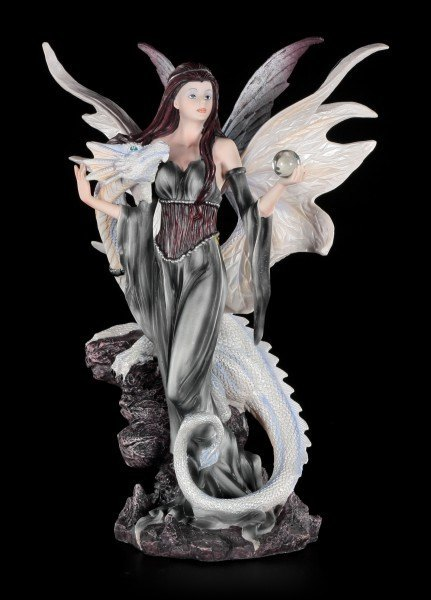 White Dragon with Fairy Figurine