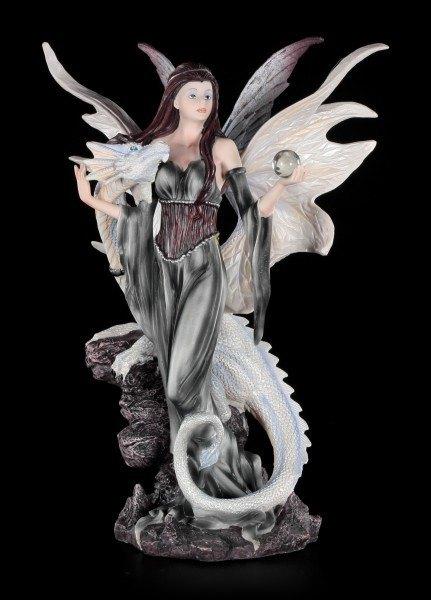 Weißer Drachen mit Elfen Figur