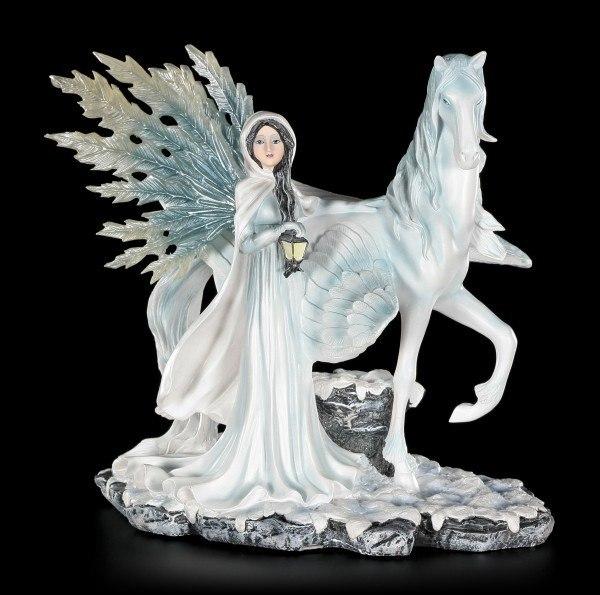 Elfen Figur - Bruma mit Pegasus - Wintertraum