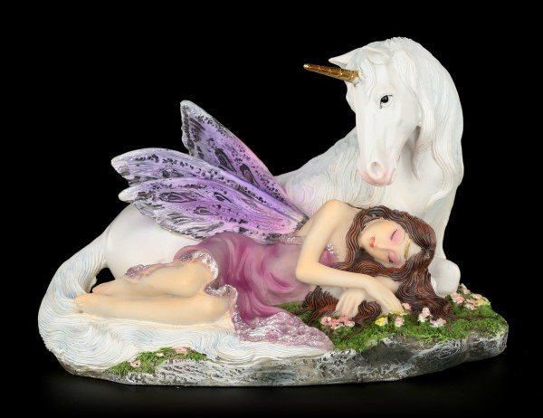 Fairy Figurine - Euone sleeps with Unicorn