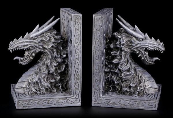 Drachen Buchstützen - Drachenköpfe