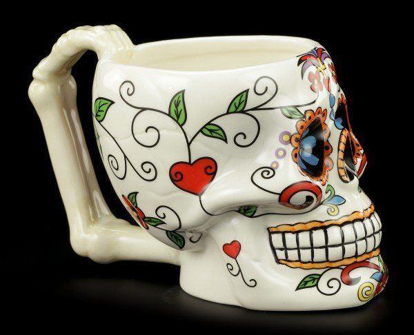 Totenkopf Tasse mit Blumen - Day of the Dead
