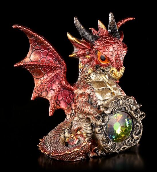 Drachen Figur rot - Elix mit Kristall