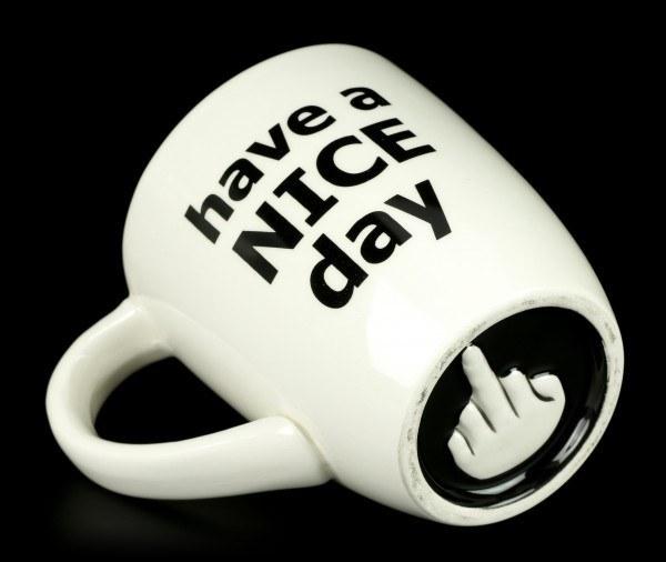 Keramiktasse - Hab einen schönen Tag - Mittelfinger