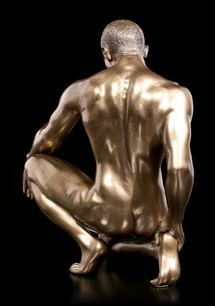 Male Nude Figurine - Crouching with Look to the Ground