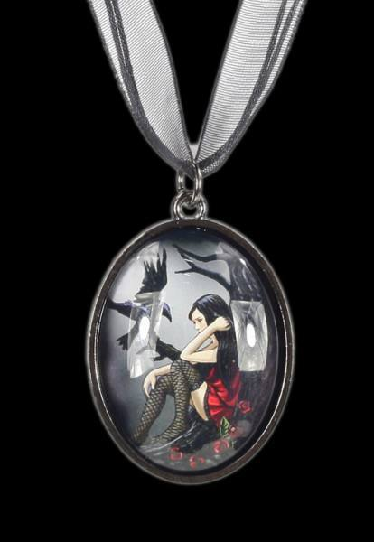Fantasy Glass Picture Pendant - Gothic Fairy with Raven