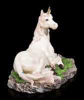 Unicorn Figurine on Meadow with Gemstones