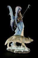 Fairy Figurine - Luna With Moon Bar and Wolf