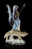 Elfen Figur - Luna mit Mondstab und Wolf