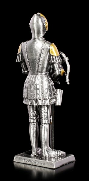 Zinn Ritter Figur mit Schwert und Armbrust