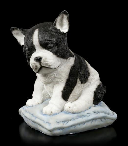 Hunde Figur - Bulldogge schläft im Sitzen ein