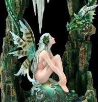 Elfen Figur - Flaith mit grünem Drachen