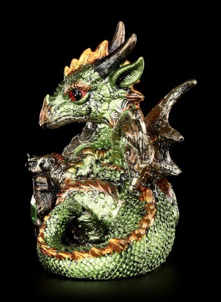 Dragon Figurine - Malachite with Crystal Heart