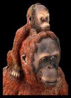 Gartenfigur - Orangutan Mama mit Kind