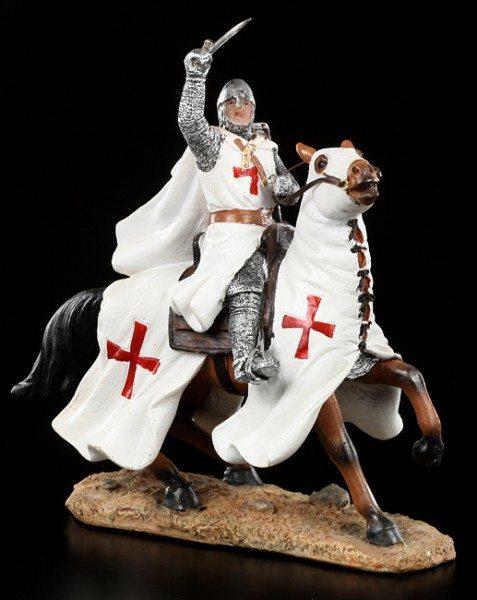 Ritter Figur - Tempelritter mit Pferd im Kampf