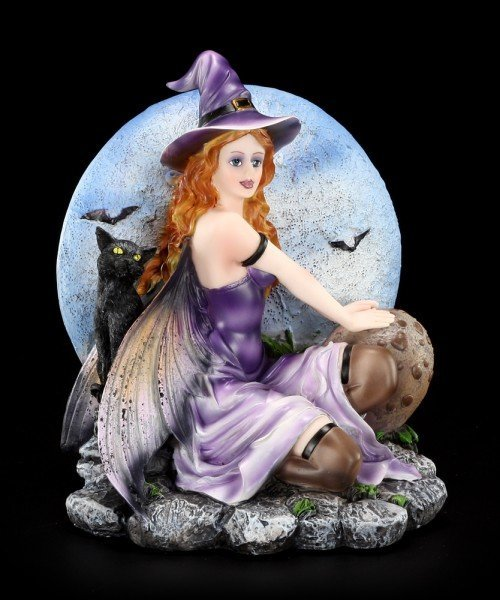 Hexen Figur - Belia mit Kater Felis
