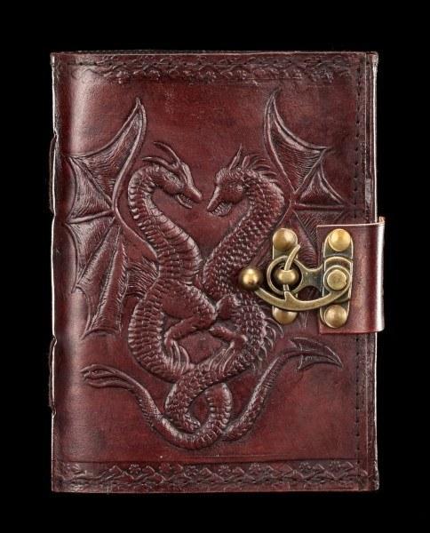 Leder Notizbuch mit Drachen und Schloss - Double Dragon