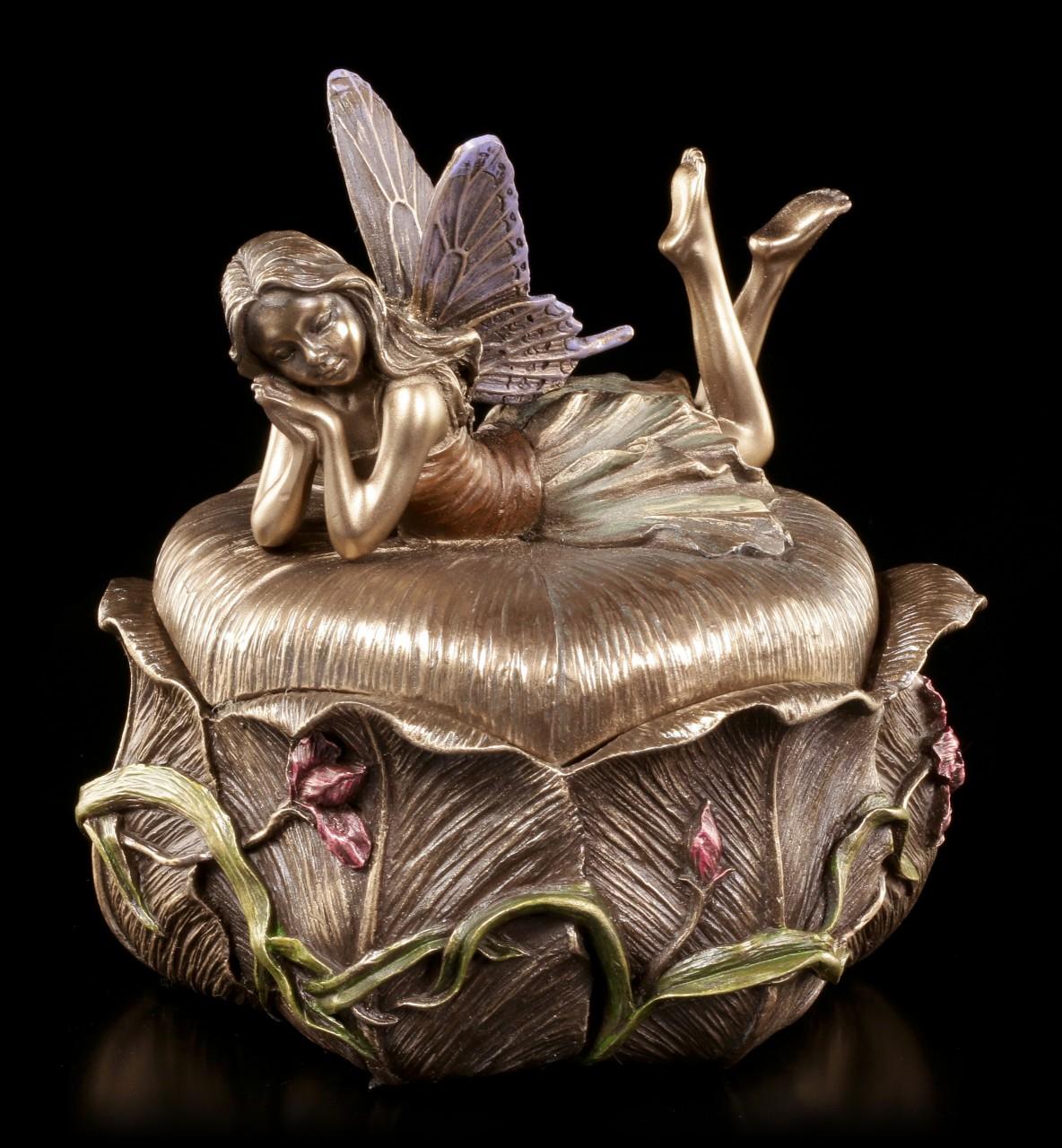 Jugendstil Schatulle - Elfe auf Blumenblüte
