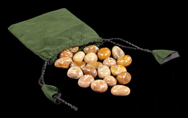 Runen Blutstein aus Naturstein - mit Beutel