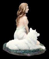 Wolf Figur mit Wächterin - Storm Maiden