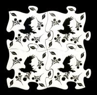 Alchemy Puzzle Untersetzer Set - Black Raven and Rose