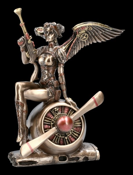 Steampunk Engel Figur - Kriegerin auf Propeller