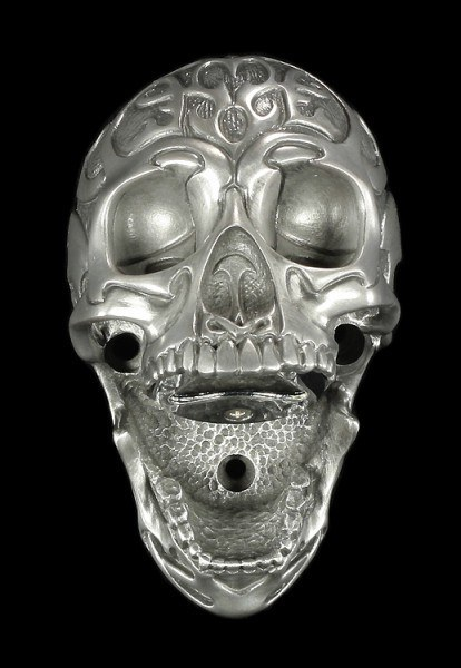 Flaschenöffner - Totenkopf Tribal Skull - silberfinish