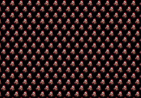 Totenkopf Weihnachts-Geschenkpapier - Dead Santa schwarz