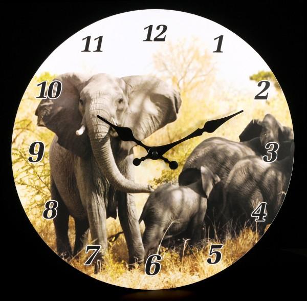 Wanduhr - Elefantenherde