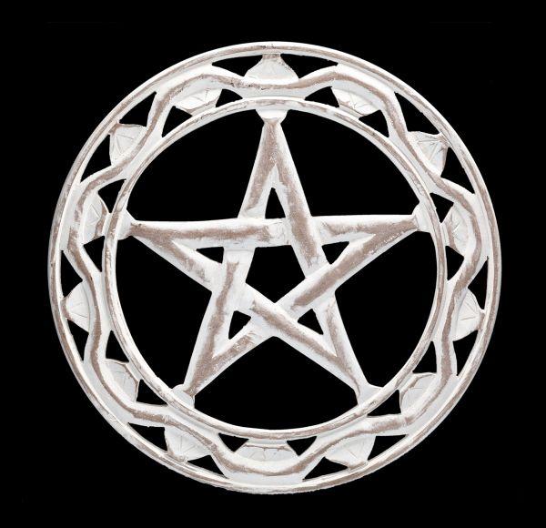 Wandrelief - Pentagramm Holz weiß