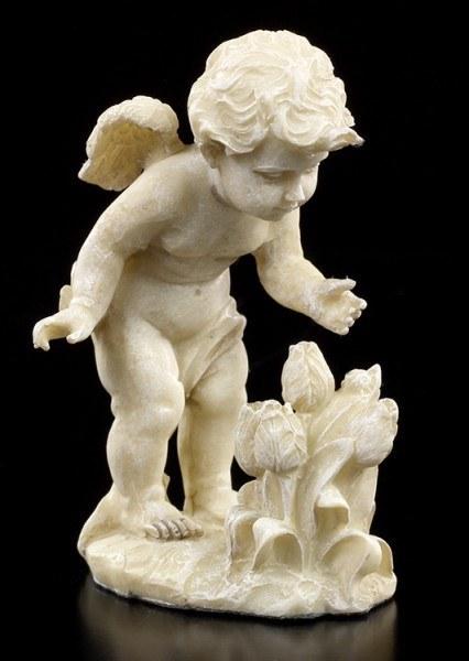 Engel Gartenfigur - Putte mit Blumen