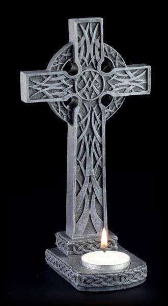 Teelichthalter - Kreuz mit Keltenmuster