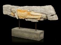 Buddha Figur groß - Schlafend Holzoptik