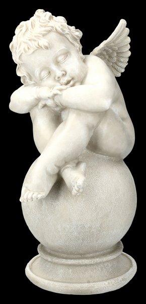 Gartenfigur - Engel schlafend auf Kugel