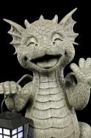Gartenfigur mit Solar Laterne - Drache Big Boy