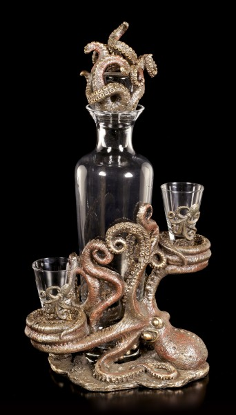 Steampunk Octopus Bottle & Glass Holder