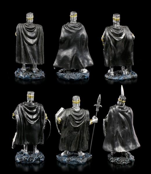 Schwarze Kreuzritter Figuren - 6er Set