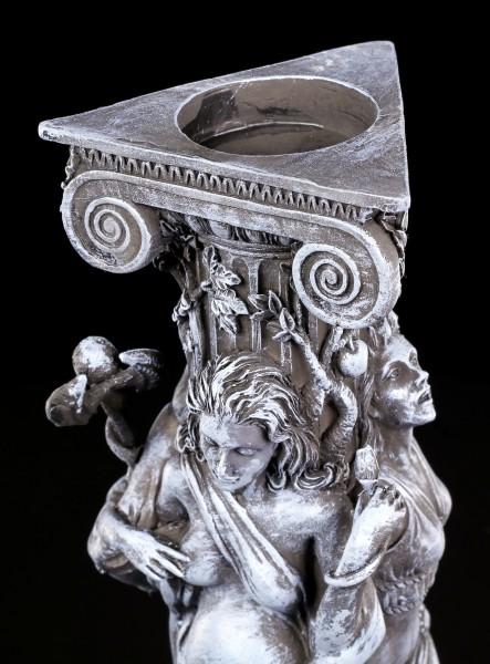 Teelichthalter - Dreifaltige Göttin schwarz