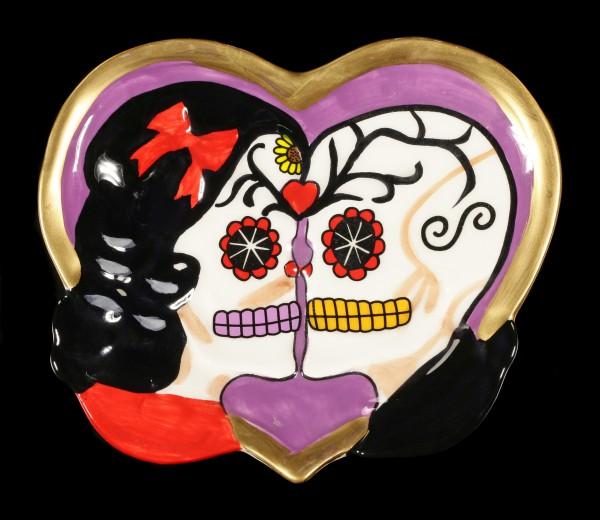 Herz Schale - Day of the Dead Totenköpfe lila