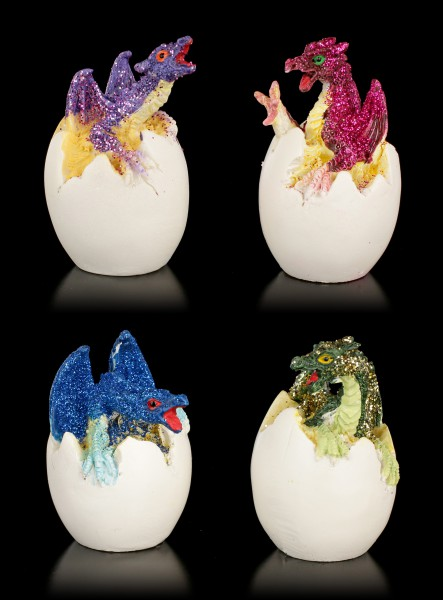 Dragon Baby Figurines in Egg - Set of 4