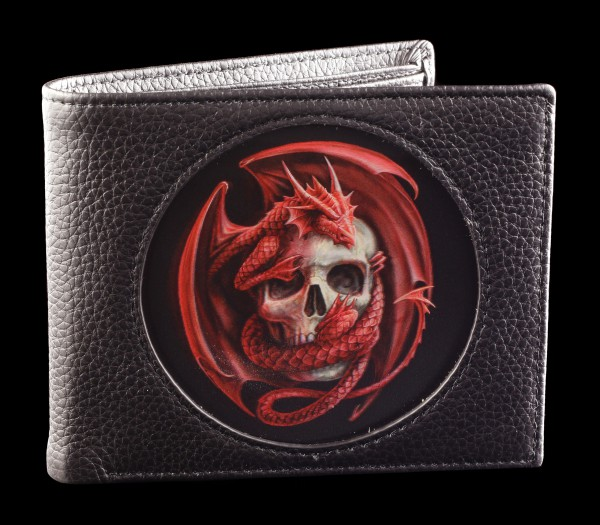3D Wallet Black - Dragon and Skull by Anne Stokes