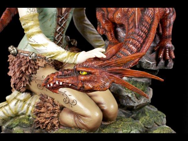 Fairy Land - Elfen Figur mit großem Drachen
