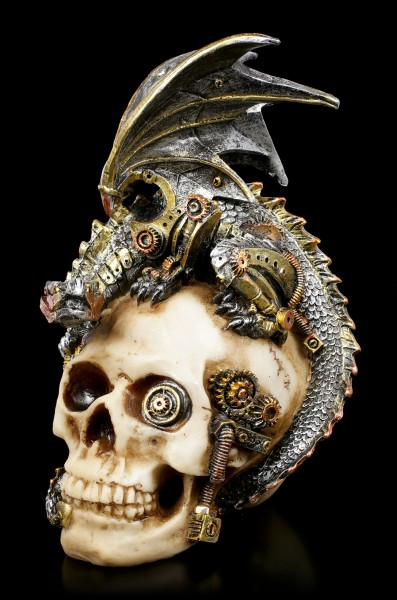 Steampunk Dragon on Skull - Steel Wing
